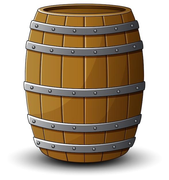 Vector l'illustrazione del barilotto di legno su un fondo bianco Vettore Premium