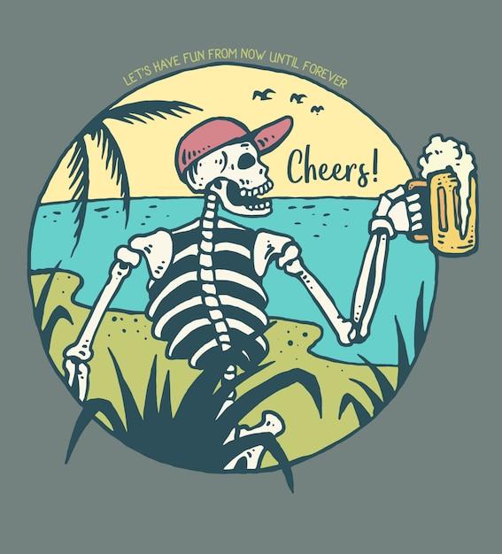 Vector l'illustrazione del cranio che tiene un vetro di birra Vettore Premium