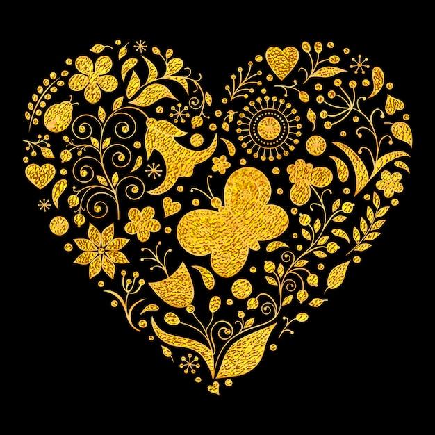 Vector l'illustrazione del cuore floreale dorato dei biglietti di s. valentino Vettore Premium