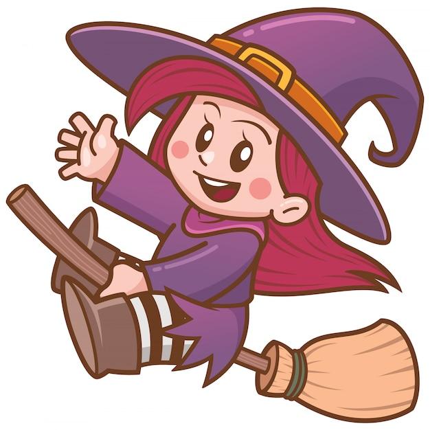 Vector l'illustrazione del volo della strega del fumetto sulla scopa Vettore Premium