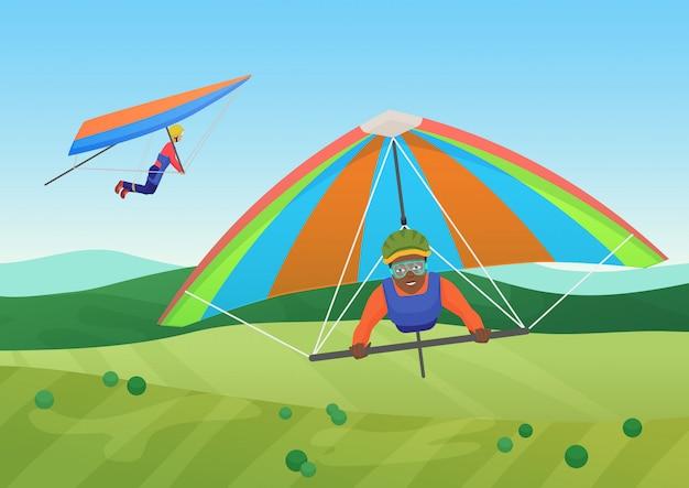 Vector l'illustrazione della gente in bianco e nero che vola sui deltaplani in cielo sotto il campo. Vettore Premium