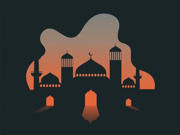 Vector l'illustrazione della moschea sulla priorità bassa astratta di notte delle stelle Vettore Premium