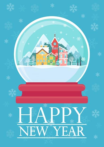 Vector l'illustrazione della palla di vetro con la città nevosa e le parole del buon anno. Vettore Premium