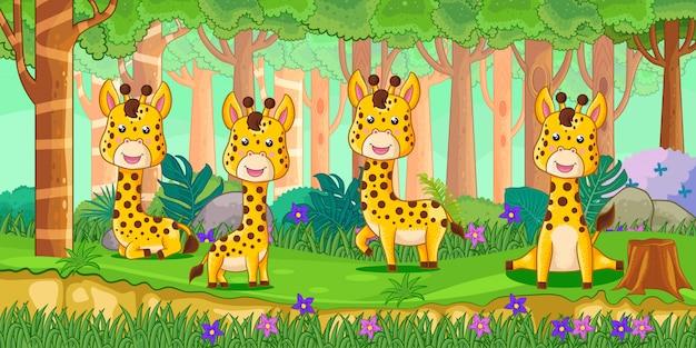 Vector l'illustrazione delle giraffe del fumetto nella giungla Vettore Premium