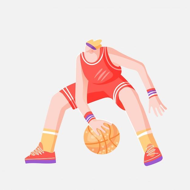 Vector l'illustrazione di schizzo colorata piano del giocatore di pallacanestro professionista, giocando con la palla nella posa dinamica, isolata su bianco. Vettore Premium