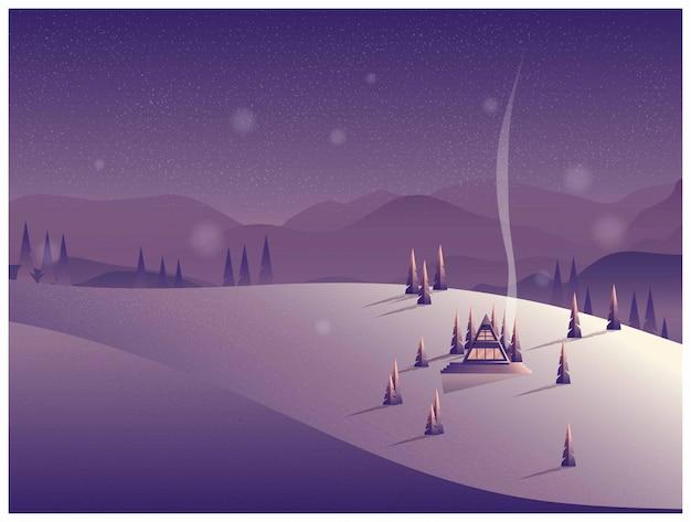 Vector l'illustrazione di una cabina sola nella montagna nell'inverno. Vettore Premium