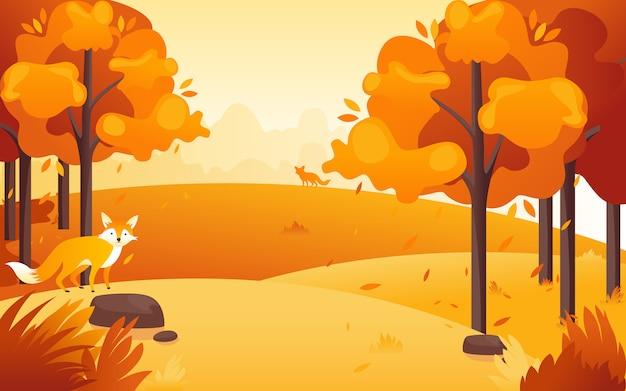 Vector l'illustrazione di una progettazione piana da una vista di pomeriggio al parco quando il sole tramonterà con un'adorabile piccola volpe. Vettore Premium