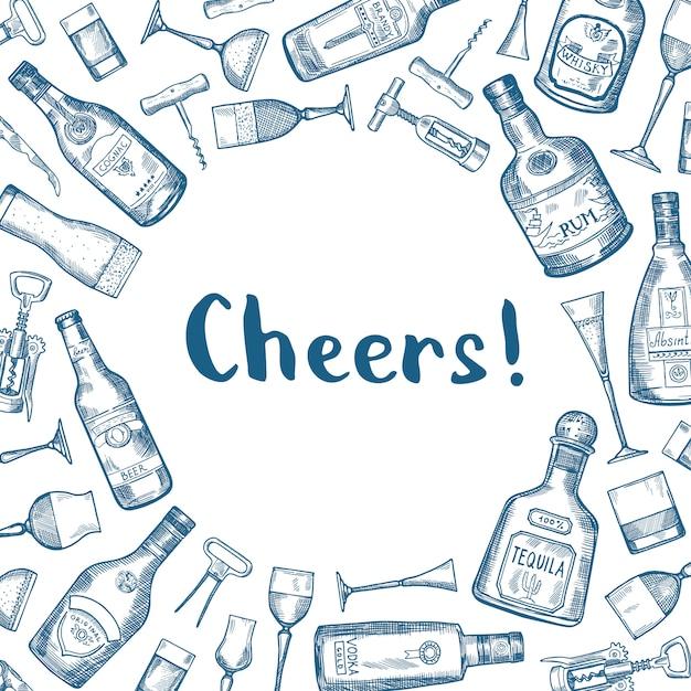 Vector l'illustrazione disegnata a mano delle bottiglie e di vetro della bevanda dell'alcool con il posto per testo nel centro Vettore Premium
