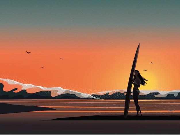 Vector l'immagine dell'illustrazione della spiaggia dell'estate mentre alba o tramonto. Vettore Premium