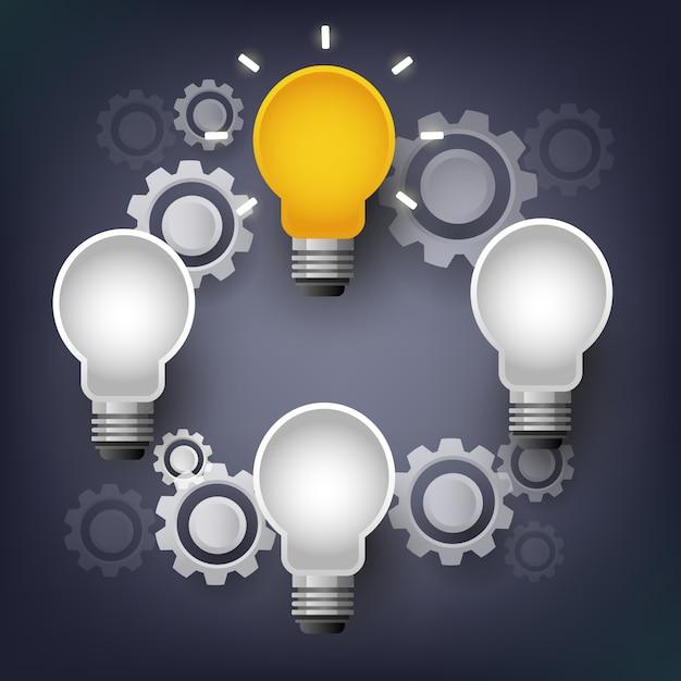 Vector la lampadina di infographic con la comunicazione dell'ingranaggio, concetto di lampo di genio Vettore Premium