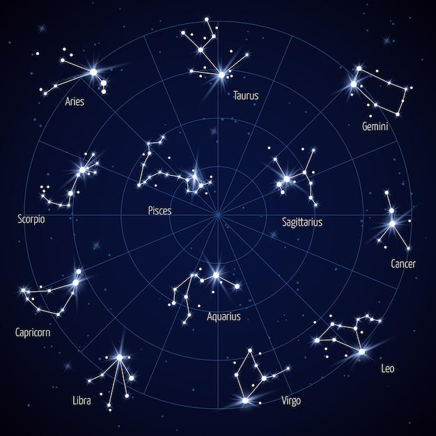 Vector la mappa di stella del cielo con le stelle delle costellazioni Vettore Premium