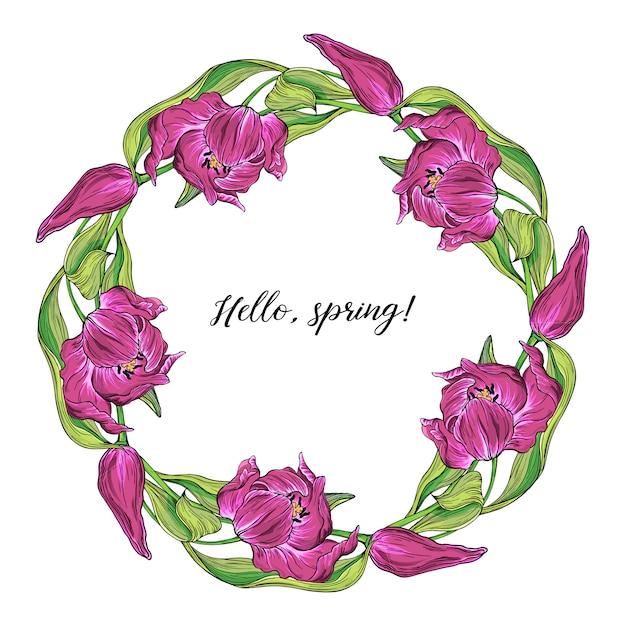 Vector la struttura rotonda colorata della molla floreale con i fiori del tulipano Vettore Premium