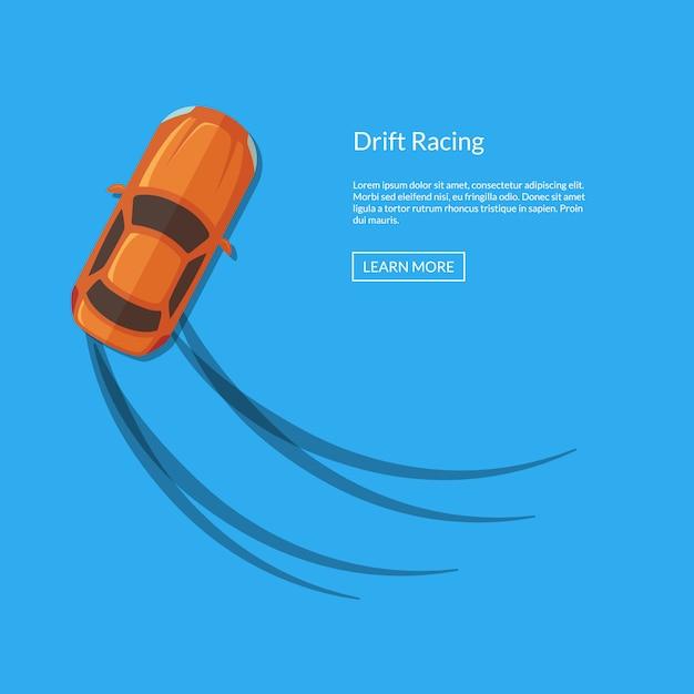 Vector la vista superiore dell'automobile di spostamento con l'illustrazione delle piste della gomma Vettore Premium