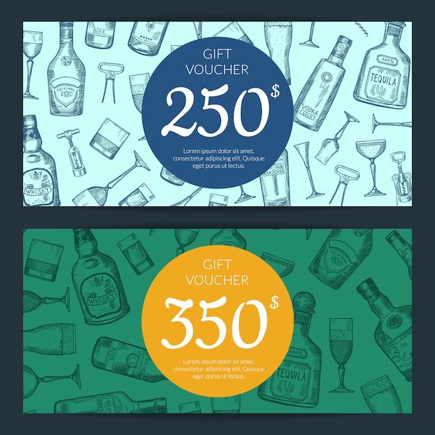 Vector le bottiglie disegnate a mano dell'alcool e vetri di sconto o l'illustrazione dei modelli del buono della carta di regalo Vettore Premium