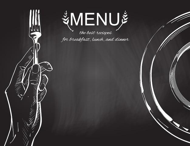 Vector le mani tenendo un coltello e forchetta Vettore Premium
