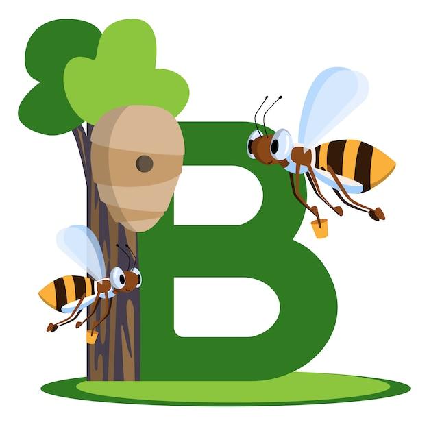 Vector lettera con api che trasportano secchi di miele nell'alveare. per i bambini che stanno imparando englis Vettore Premium