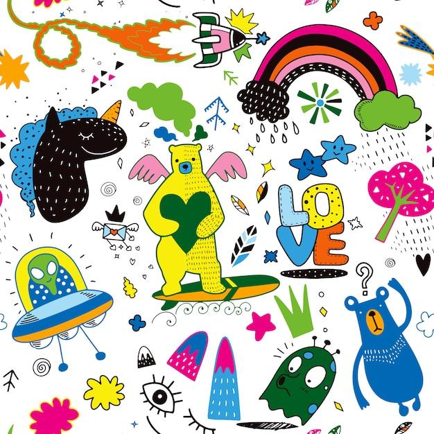Vector line art doodle cartoon set di oggetti e simboli vol.4 Vettore Premium