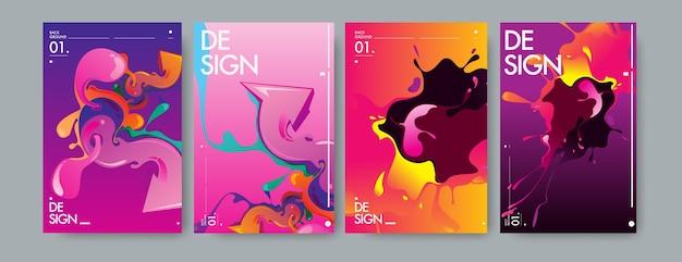 Vector liquido e flusso colorato sfondo. Vettore Premium