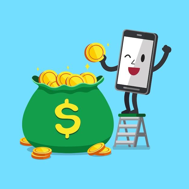 Vector lo smartphone del personaggio dei cartoni animati con la borsa dei grandi soldi Vettore Premium