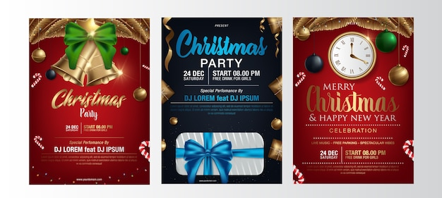 Vector merry christmas party poster Vettore Premium