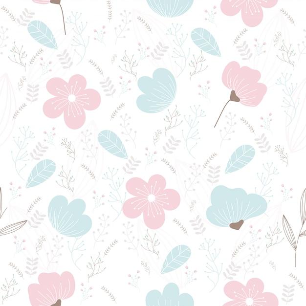 Vector motivo floreale in stile doodle. Vettore Premium