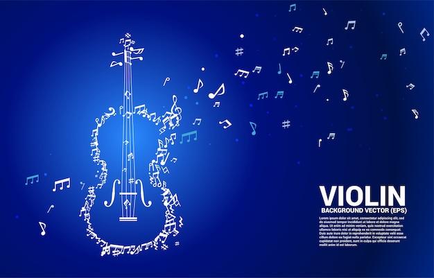 Vector musica melodia nota danza flusso forma violino Vettore Premium