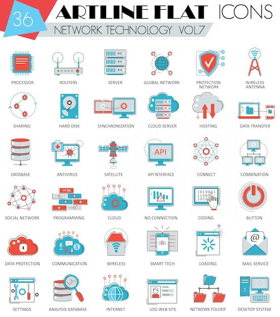 Vector network tecnologia ultra moderna struttura artline linea piatta icone per il web e applicazioni. Vettore Premium