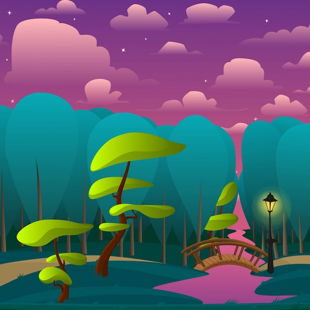Vector paesaggio del parco di notte con alberi piccolo