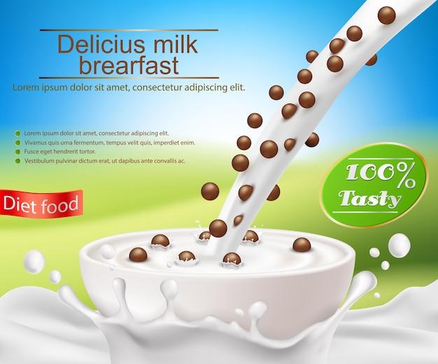 Vector poster realistico con una spruzzata di latte e latte versando in una tazza con una colazione a base di cereali, palle da cereali di cioccolato Vettore gratuito