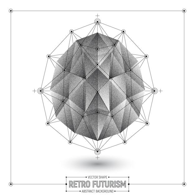 Vector retro futurismo astratto forma poligonale 3d Vettore Premium