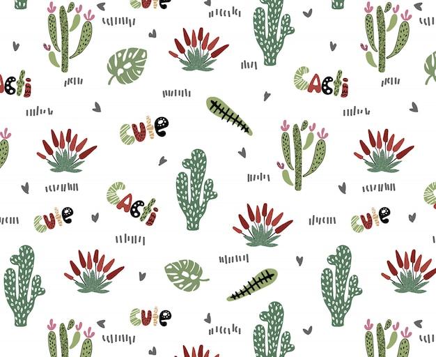 Vector seamless con cactus Vettore Premium