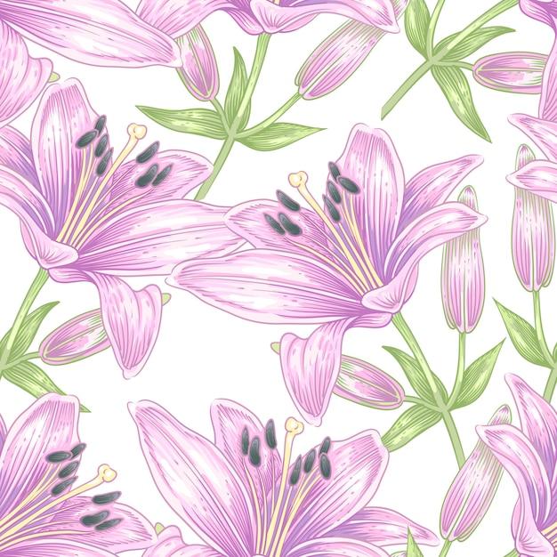 Vector seamless con fiori di giglio. Vettore Premium
