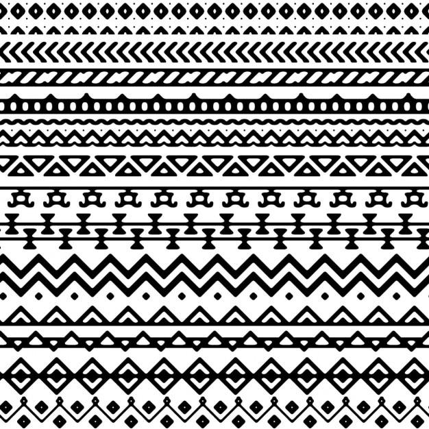 Vector seamless mono stile tribale Vettore gratuito