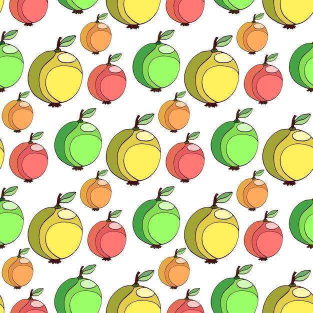 Vector Seamless Pattern Con Mele Colorate Frutta Sfondo Stilizzato