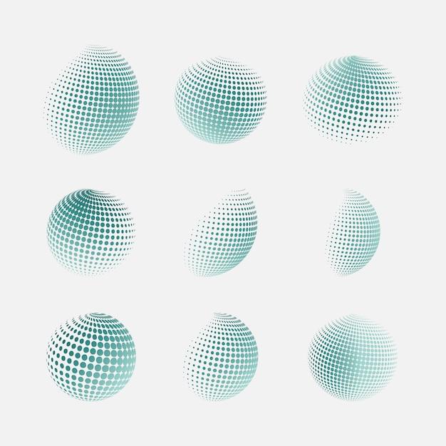 Vector semitono sfere Vettore Premium