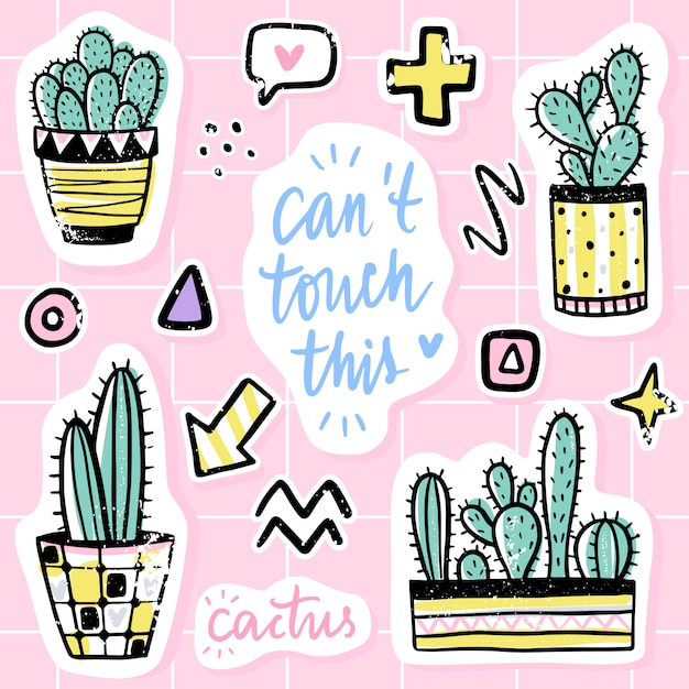 Vector set con cactus, frasi positive, elementi. cactus vettoriale carino Vettore Premium