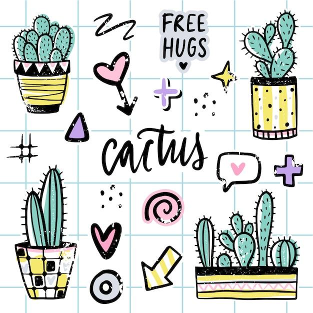 Vector set con cactus, frasi positive, elementi. Vettore Premium