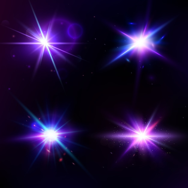 Vector set con effetto luce bagliore. la stella è scoppiata di scintillii. Vettore Premium