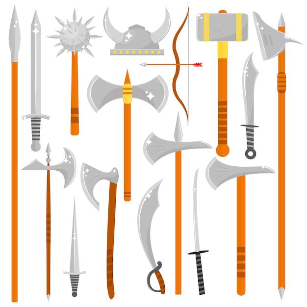 Vector set di armi da taglio. Vettore Premium