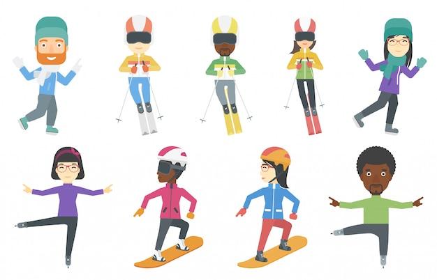 Vector set di caratteri di sport invernali. Vettore Premium