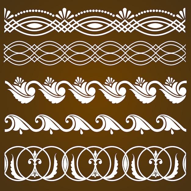 Vector set di elementi di bordo e elementi di decorazione pagina. disegni di elementi di decorazione di bordo. illustrazioni vettoriali di confini etnici. Vettore gratuito