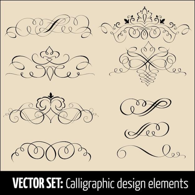Vector set di elementi di design calligrafico e decorazione pagina. eleganti elementi per il tuo design. Vettore gratuito