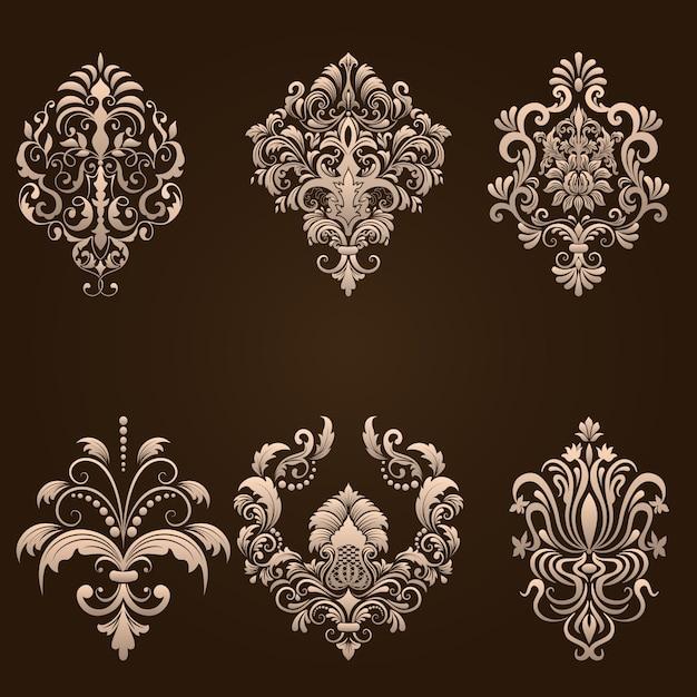 Vector set di elementi ornamentali damascati. elementi astratti floreali eleganti per il design. perfetto per inviti, carte ecc. Vettore gratuito