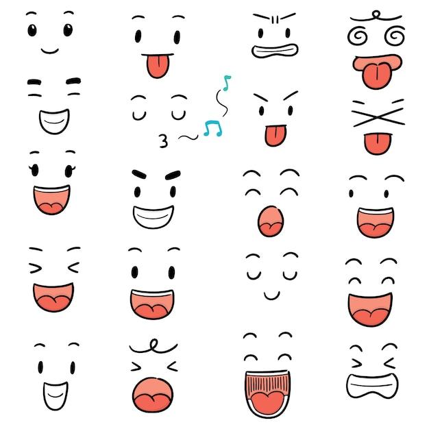 Vector set di faccia da cartone animato Vettore Premium