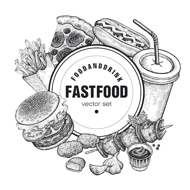 Vector set di fast food. Vettore Premium
