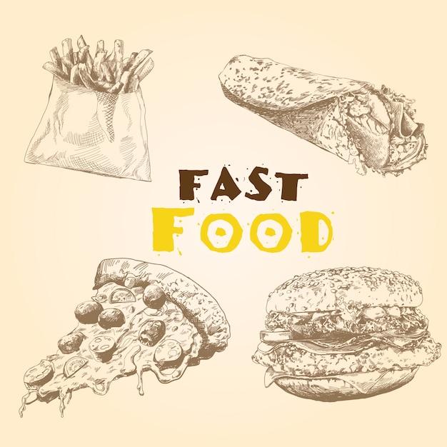 Vector set di fast food. Vettore Premium