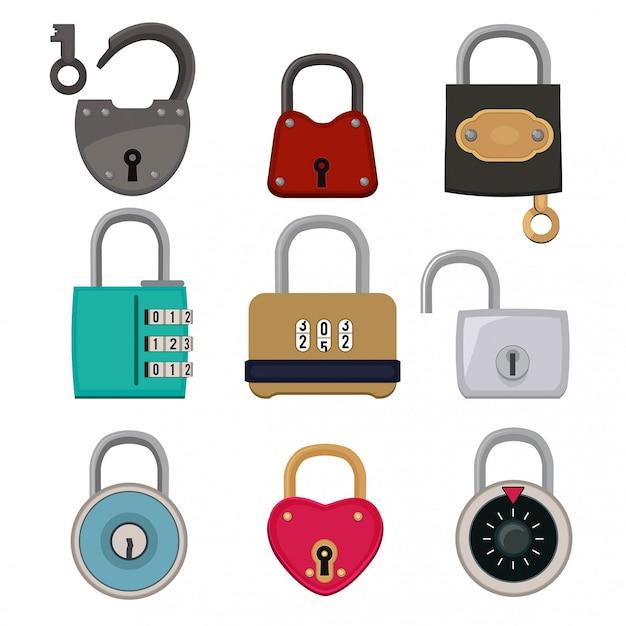 Vector set di icone colorate di lucchetti Vettore Premium
