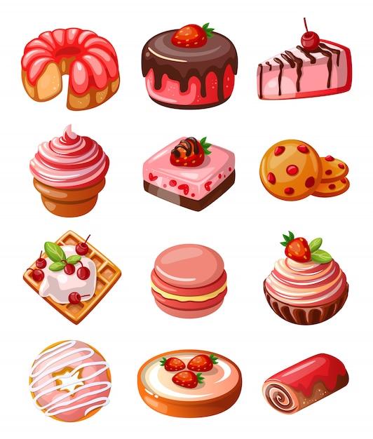 Vector set di icone dolci Vettore gratuito