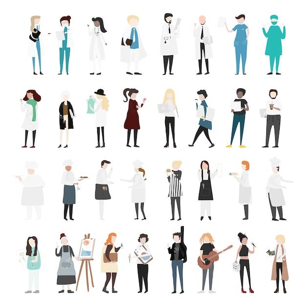Vector set di persone illustrate Vettore Premium