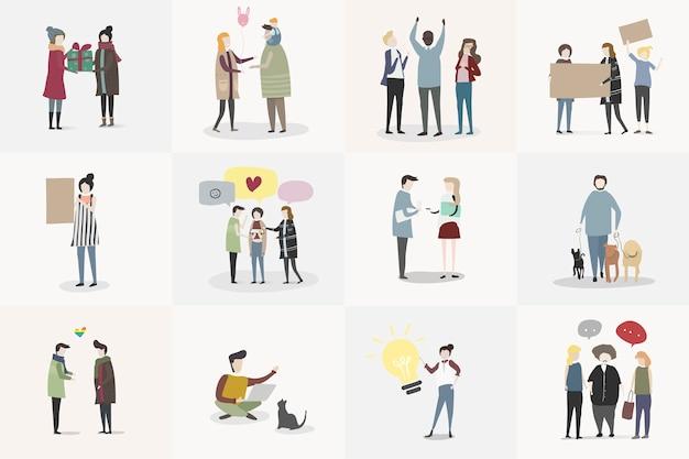 Vector set di persone illustrate Vettore gratuito
